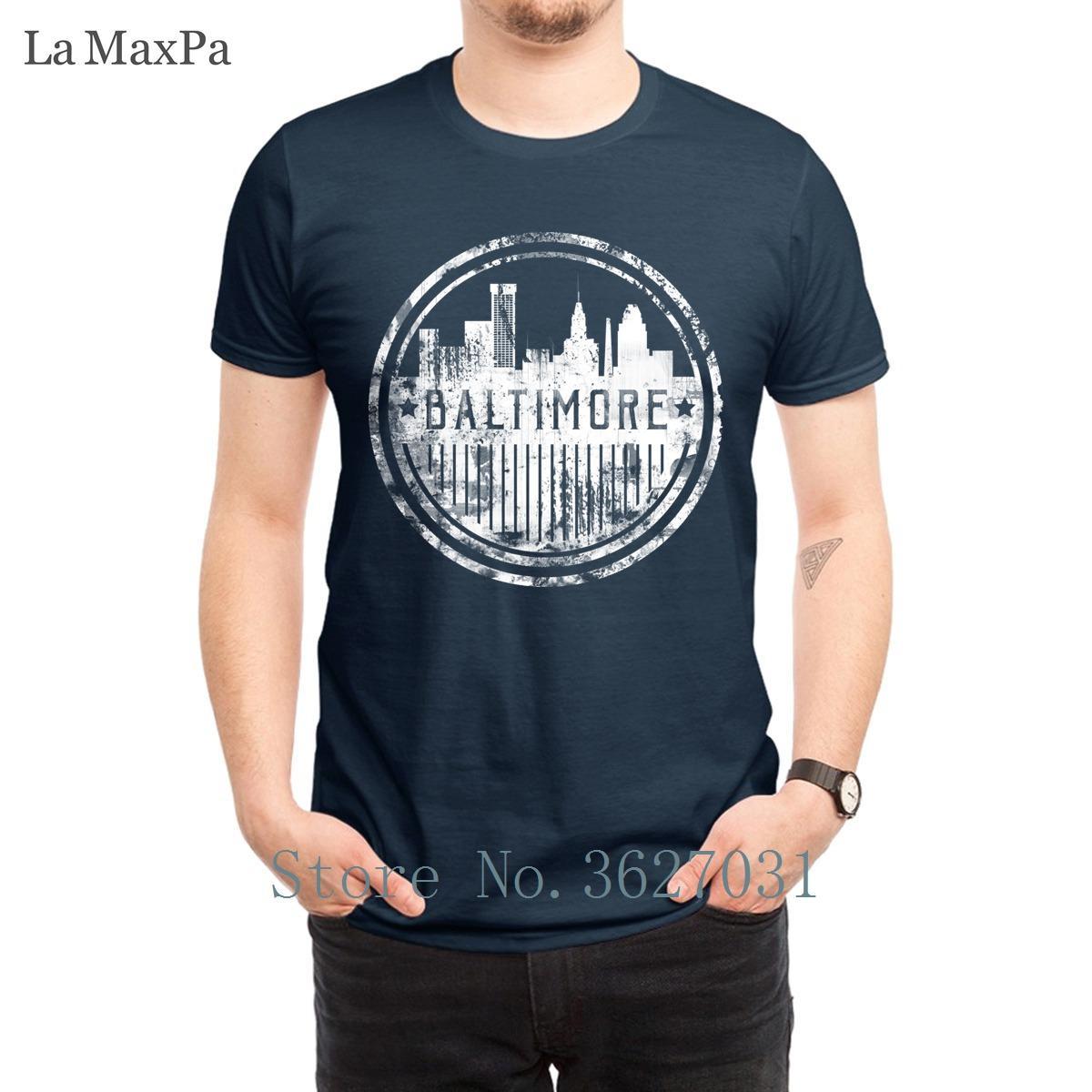 Personalizado Vintage T hombre de la camisa del Grunge del paisaje urbano de Baltimore T-shirts para hombres Diversión 2018 nuevo estilo 100% algodón Fit Camiseta