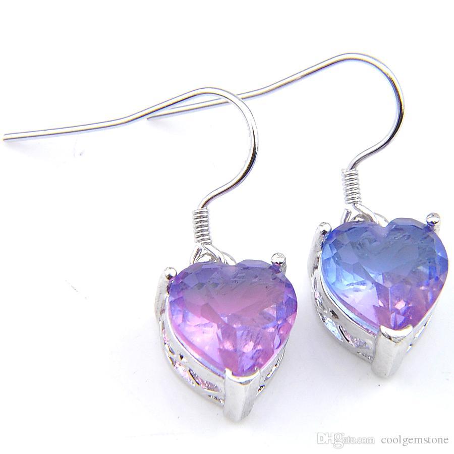 LuckyShine Wholesale 6 Pairs 925 Silver Plated WomenJewelry Earring Heart Bi Colored Tourmaline Zircon Earring For Women Hooks Earrings Jewe