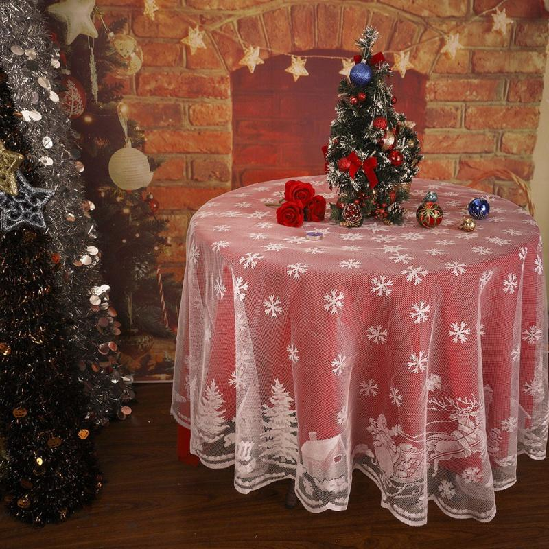 Christmas Lace Snowflake Table Cloths Multi-Size Party Home Festival Floral Decoration Textile Modern Kitchen Decor