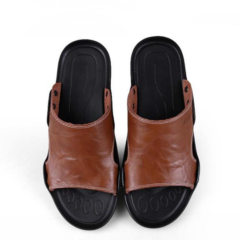 sandenen heren sandálias dos homens de verão de moda sapatos de praia de couro genuíno dos homens casuais massagem não-slip tamanho grande chinelos apartamentos