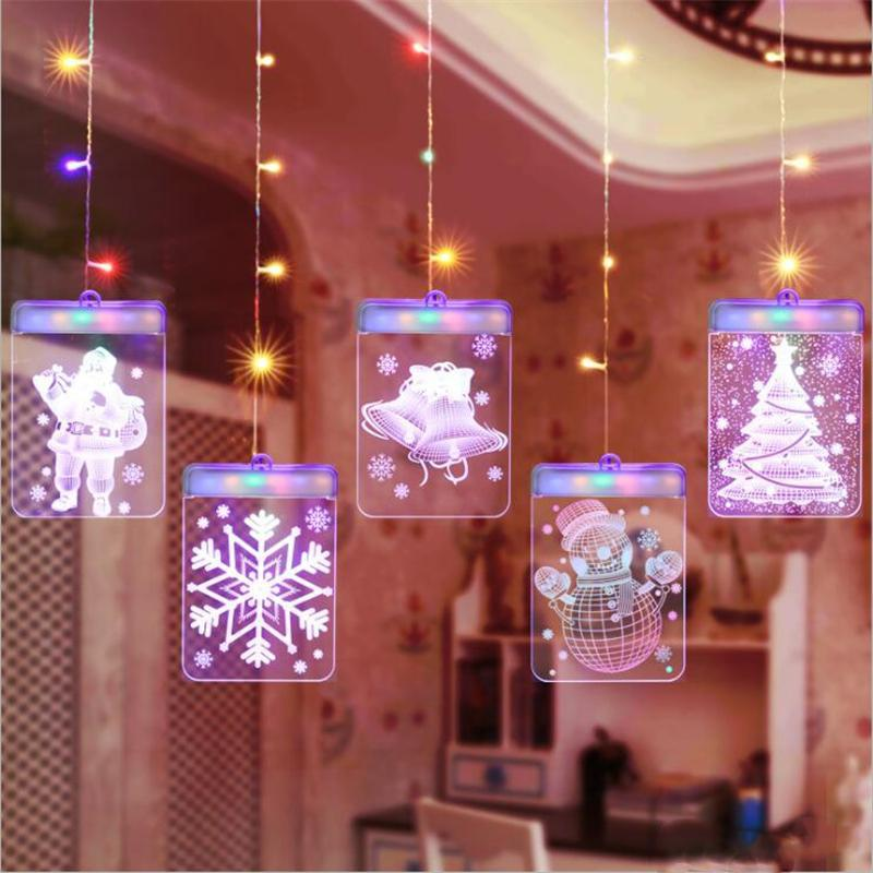Christmas LED Night Lamp Garland Lights 3D With Remote Control USB Lamp For Door Window Holiday Decoration Bedroom Fairy Lights