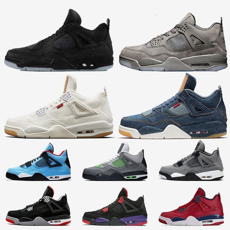 KW Preto Grey 4s sapatos Mens Basketball Travis Scott Raptors 4 sapato Bred 2019 Neon Fiba RTO tatuagem malha Mens treinadores desportivos Sneakers