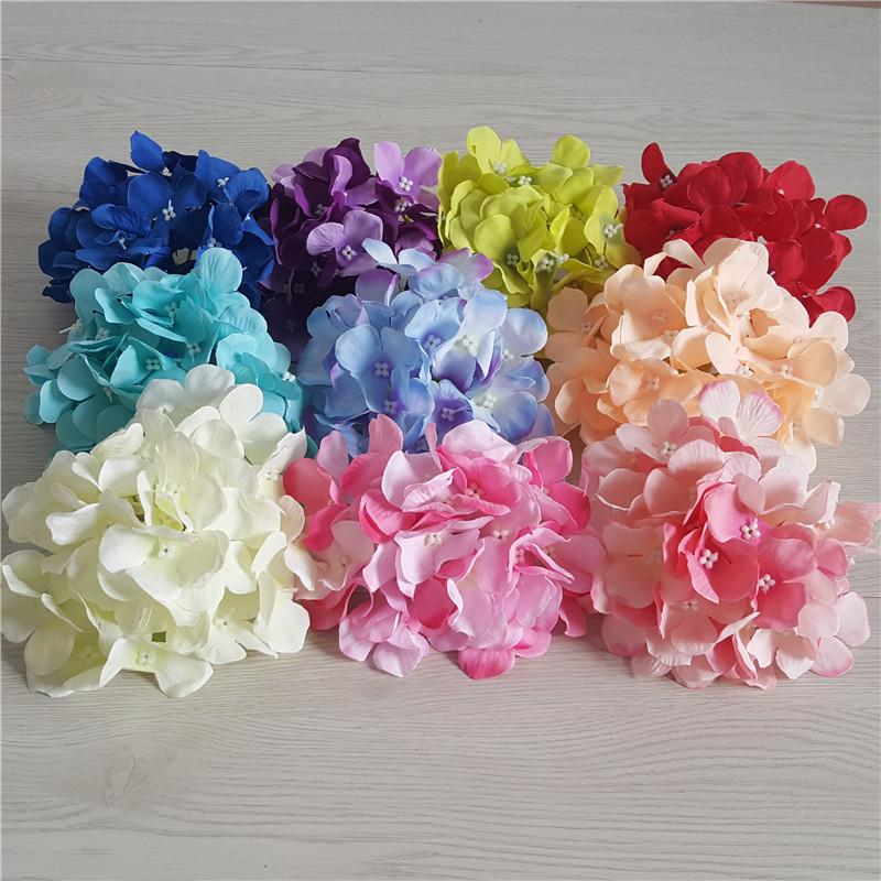 100pcs 15CM Artificial Hydrangea Silk Flowers Head For DIY Wedding Decorations Wall Arch Stage Background Sencery Bouquet Accessory Props