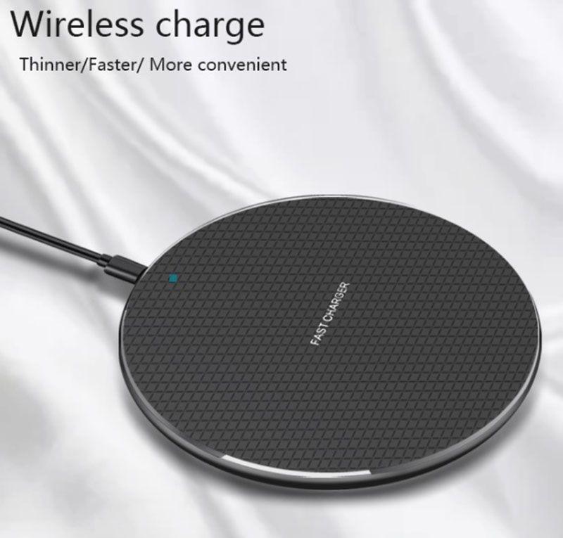 K8 Qi Wireless Pad Cargador 10W Súper carga ultrarrápida Muelle ALEACIÓN DE ALUMINIO del cuerpo de metal universal para todos los teléfonos inteligentes QI