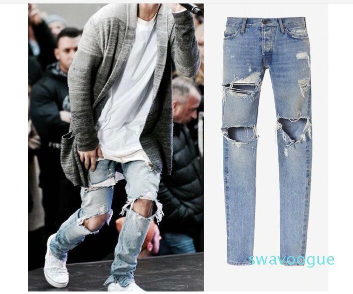 Nuovo Srtyle Mens Ripped Skinny diritti sottili elastici Denim Fit motociclista Jeans Pantaloni Pantaloni lunghi eleganti dritti slim fit jeans