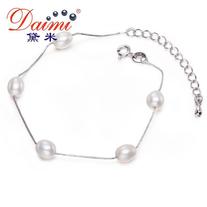 Daimi 6-7mm White Rice Freshwater Pearl Silver Bracelet Romantic Wedding Jewelry Pearl Bracelet Eu Style Hand Chain Gift Y19051603
