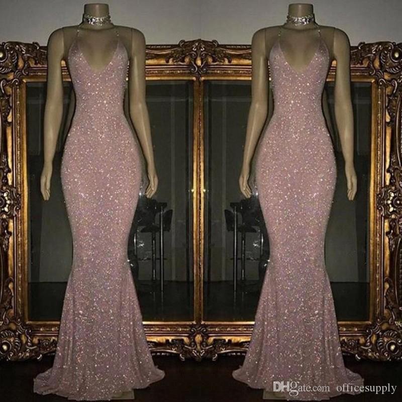 Roze lovertjes Mermaid Prom Dresses 2019 Ronde Hals Mouwloze Sexy Lage Back Sprankelen Avondjurken Sweep Train Custom Made