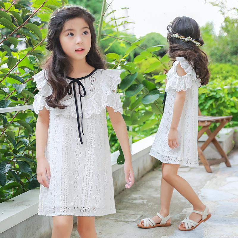 2019 verão novas roupas para crianças coreana princesa vestido de meninas vestido de crianças grandes folhas de lótus saia de renda 1228