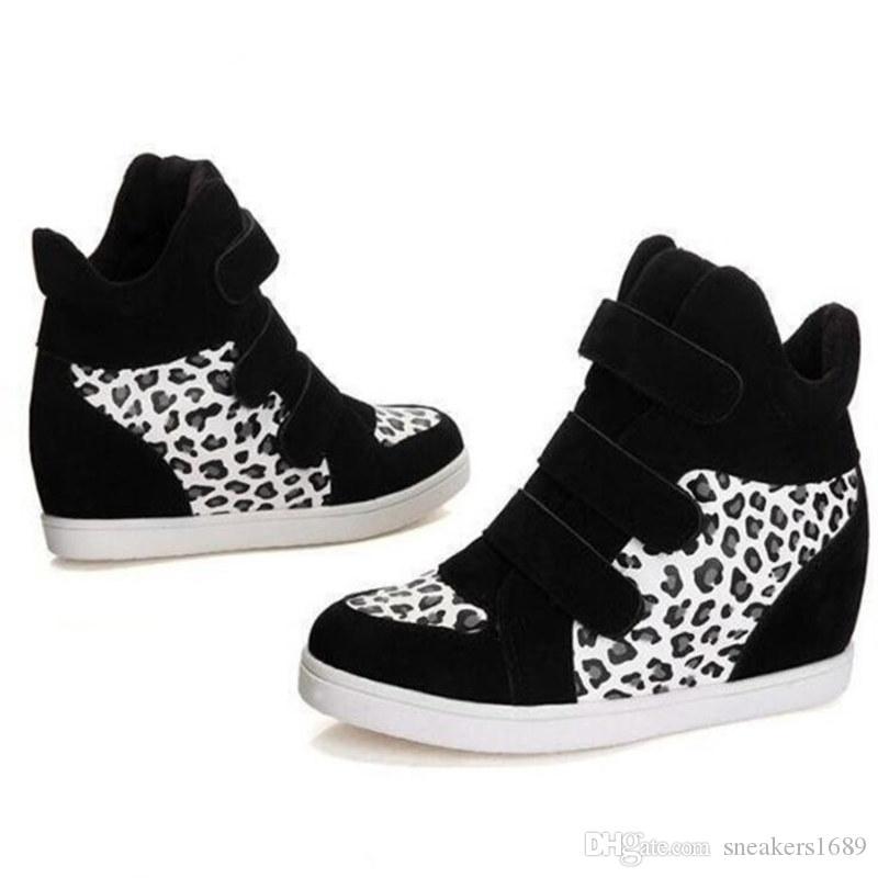 Herbstfrauen Freizeitschuhe Leopard Wildleder und Stiefeletten High Heels Plattform Keilhöhe erhöhen Schuhe X24