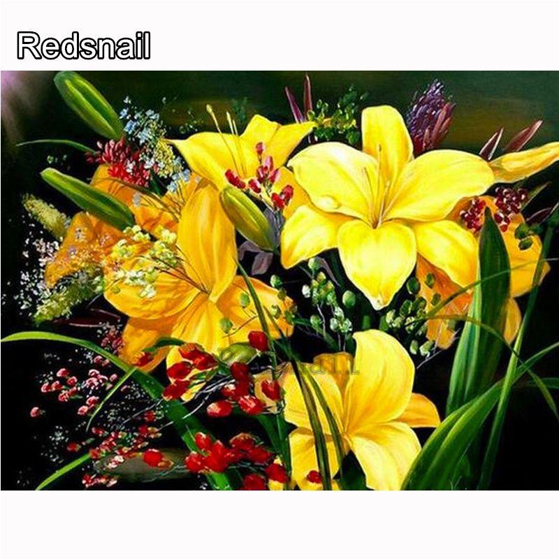 5D DIY diamante Pintado del centro de flores del mosaico amarillo del bordado Punto de cruz bordado Crafts Decoración Tt261