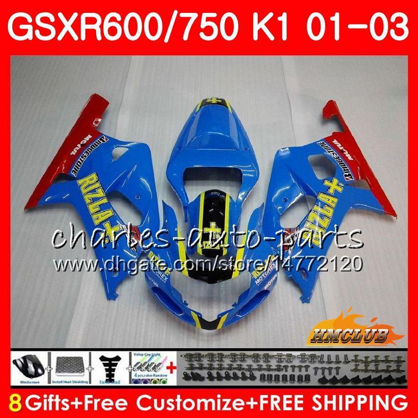 8Gifts 바디 스즈키 GSXR 600 750 GSXR600 2001 2002 2003 RIZLA 블루 핫 4HC.31 GSX R750 GSXR600 GSXR750 K1 GSXR750 01 02 03 페어링 키트