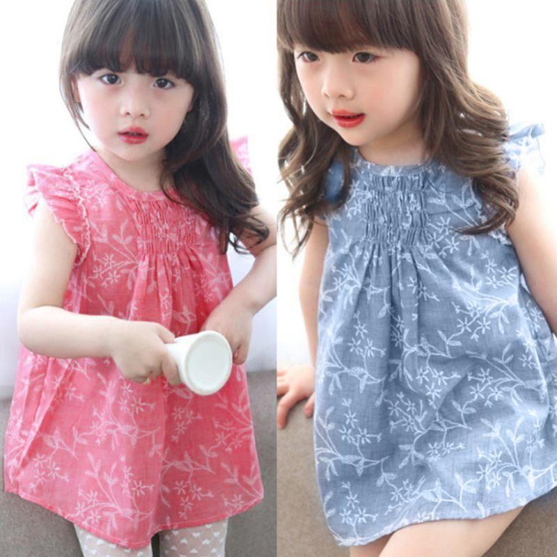 I bambini della neonata Dress 1-5Y bambino Abbigliamento stampa floreale Abiti principessa Cute Party Dresses 2020 nuovi di estate cotone di tela della ragazza