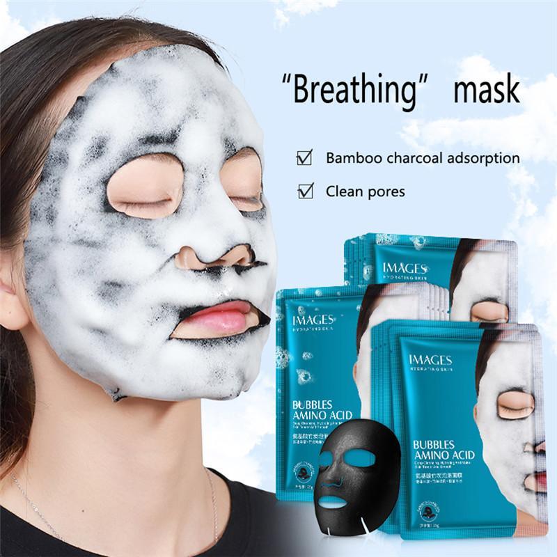 Imagens de Aminoácidos bolha máscara profunda Pore Limpo Bamboo Charcoal Black Face Máscara clareamento da pele Máscara facial Tratamento Cuidados