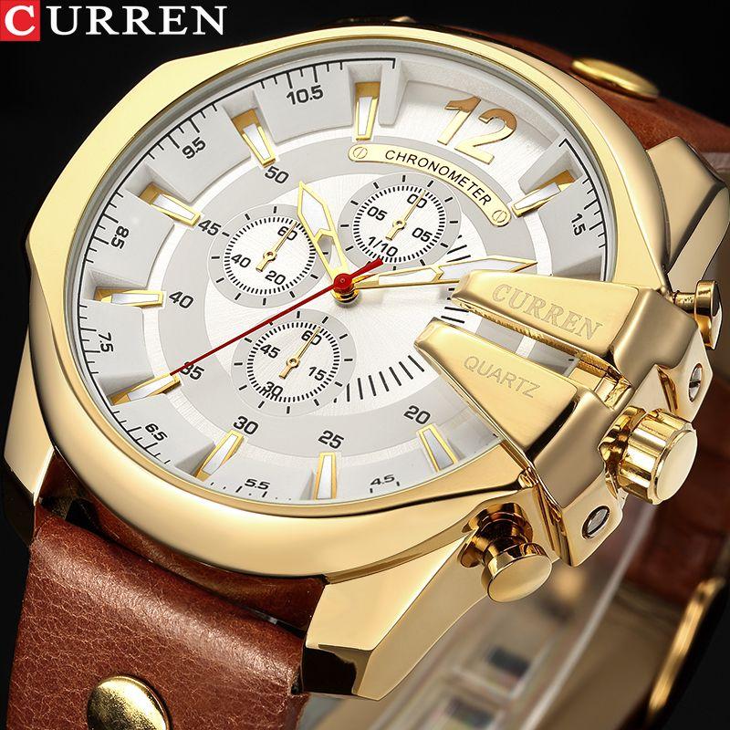 Homens Luxo Marca CURREN New Moda Casual relógios desportivos projeto relógio de pulso Modern Quartz Genuine Leather Strap Masculino Relógio