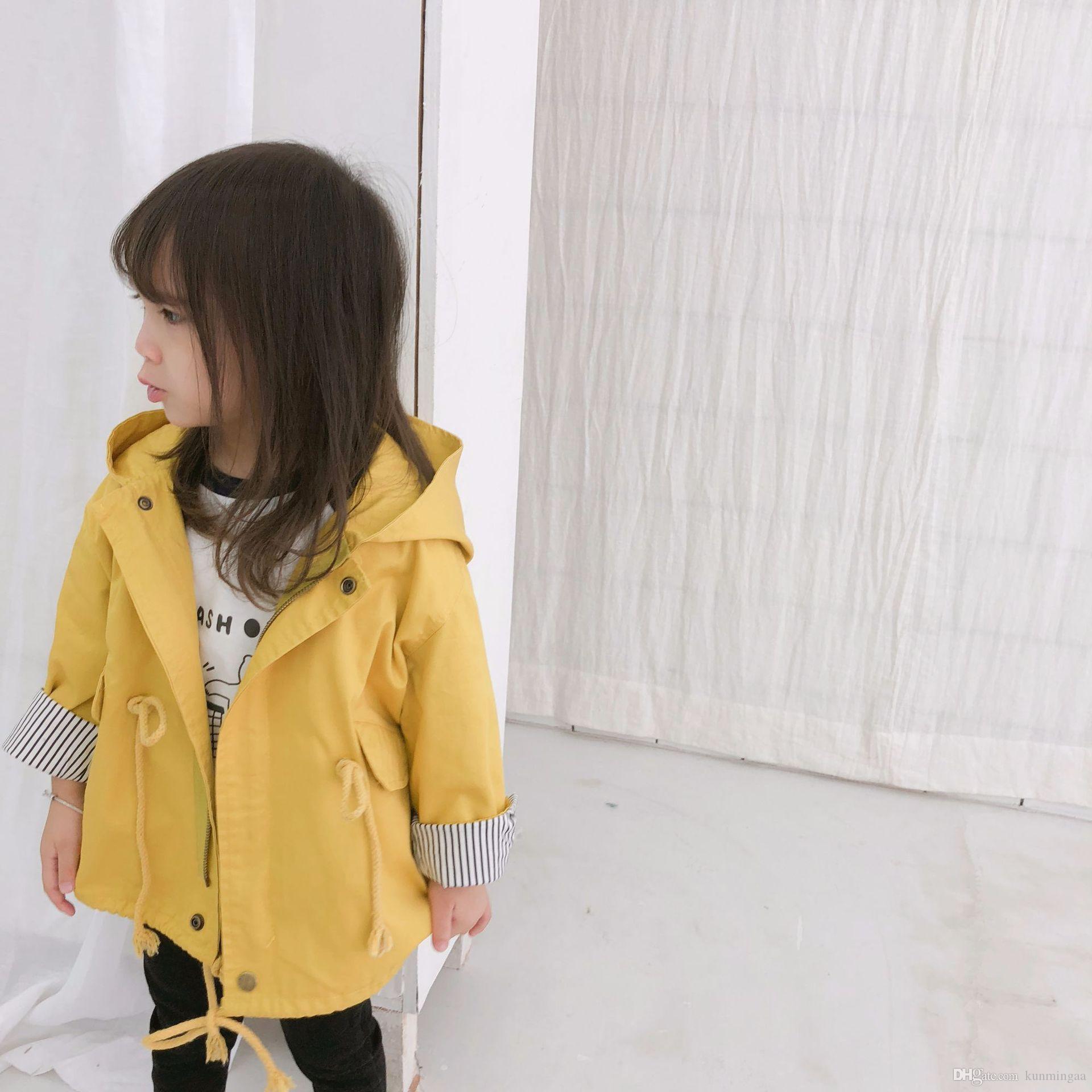 Gabardinas para niñas Cazadora larga para niños Ropa para niños Ropa con capucha para niños Trajes escolares amarillo