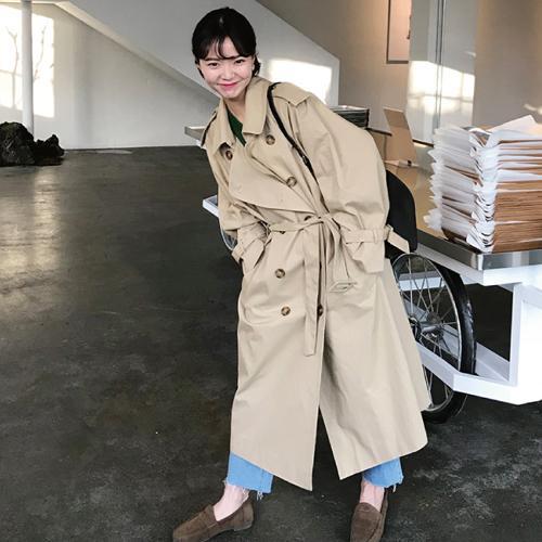 Escudo larga de las mujeres de otoño de la manga larga doble de pecho Fosa de una hembra del bolsillo recto camisa rompevientos Manteau Femme Hiver Abrigo DT191024