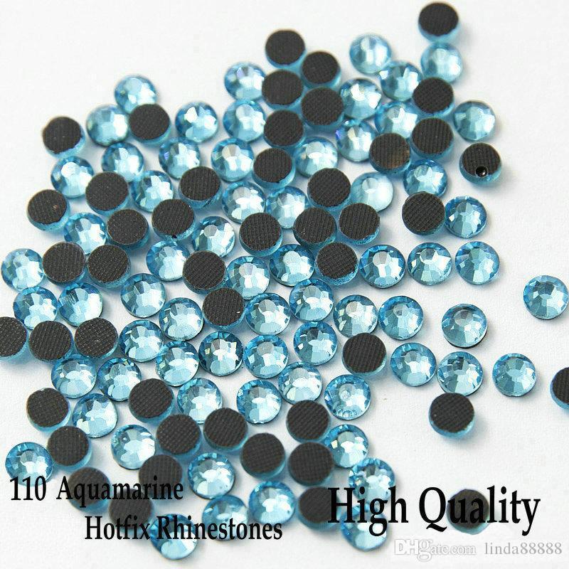 High Quality Flatback Iron On Hot Fix Rhinestones 110 Aquamarine For SS6 SS10 SS16 SS20 SS30