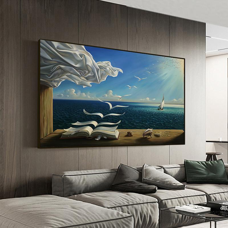 Salvador Dali Ölgemälde The Waves Buch Segelwandgemälde auf Leinwand Poster und Drucke Wall Art Pictures Home Decoration