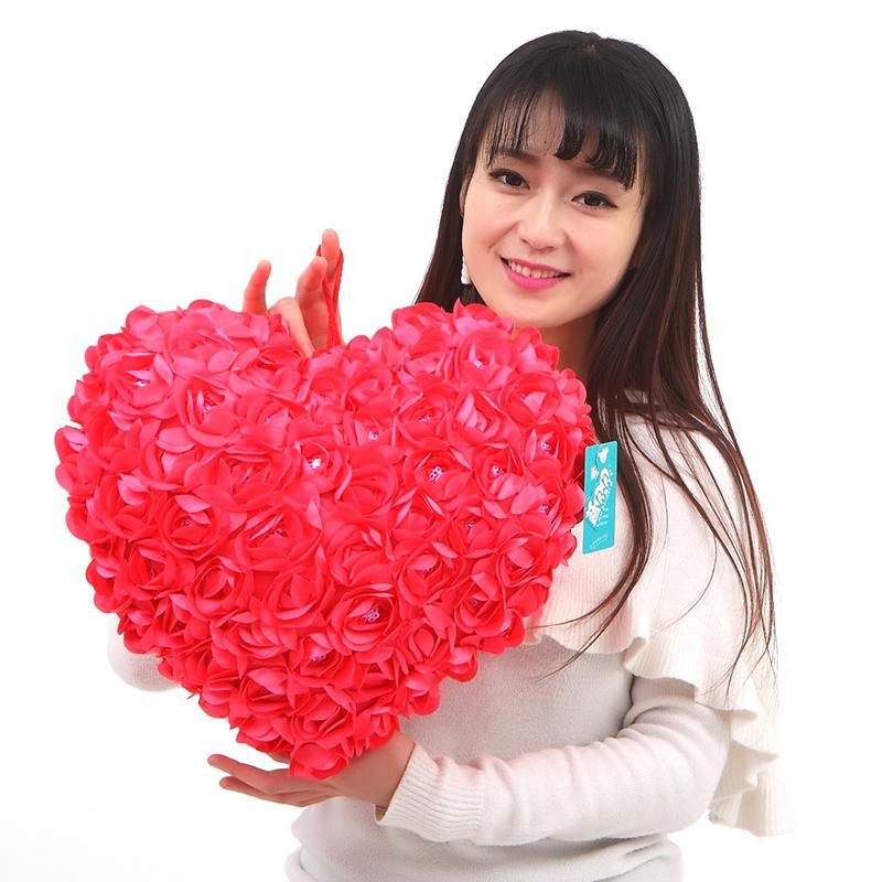 Красная Роза форма сердца плюшевые подушки Подушки мягкие игрушки для День Святого Валентина подарки свадебные украшения