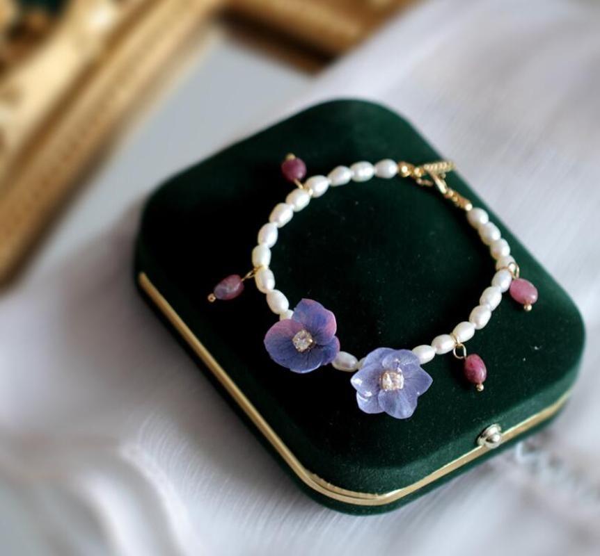 CSxjd Natural Freshwater Pearl Blue dressed flowers bracelet for Women