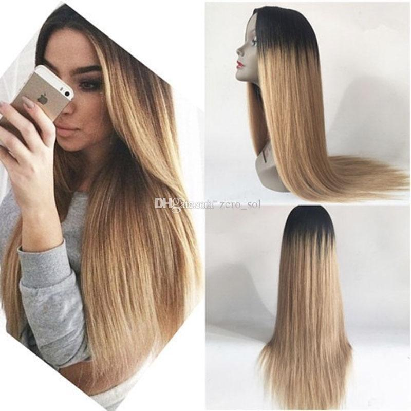 180% Density 1b 27 Ombre Honey Blonde Lace Front Human Hair Wigs Pre Plucked Silk Top Full Lace Wig With Baby Hair Remy Hair