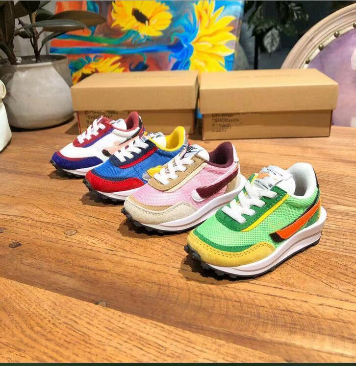 deje a los niños de los zapatos corrientes de aire Cusion Blanco Negro deporte de los niños del niño entrenador del arco iris del muchacho y de la zapatilla de deporte TAMAÑO 22-35 envío