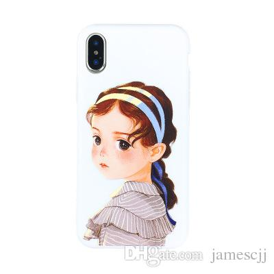 Paris Long Hair Girl Pattern Crashproof Back Cover TPU Cell Phone Cases Protective Covers For Apple iPhone X XR XS MAX 6 6S 7 8 PLUS