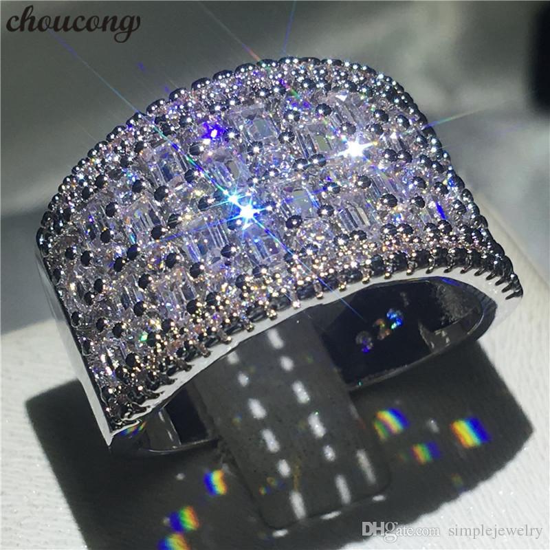 Choucong Elegante Promessa Anel Branco de Ouro Cheio T forma de Noivado de Diamante Anéis Da Banda De Casamento Para As Mulheres de Noiva Dedo Jóias