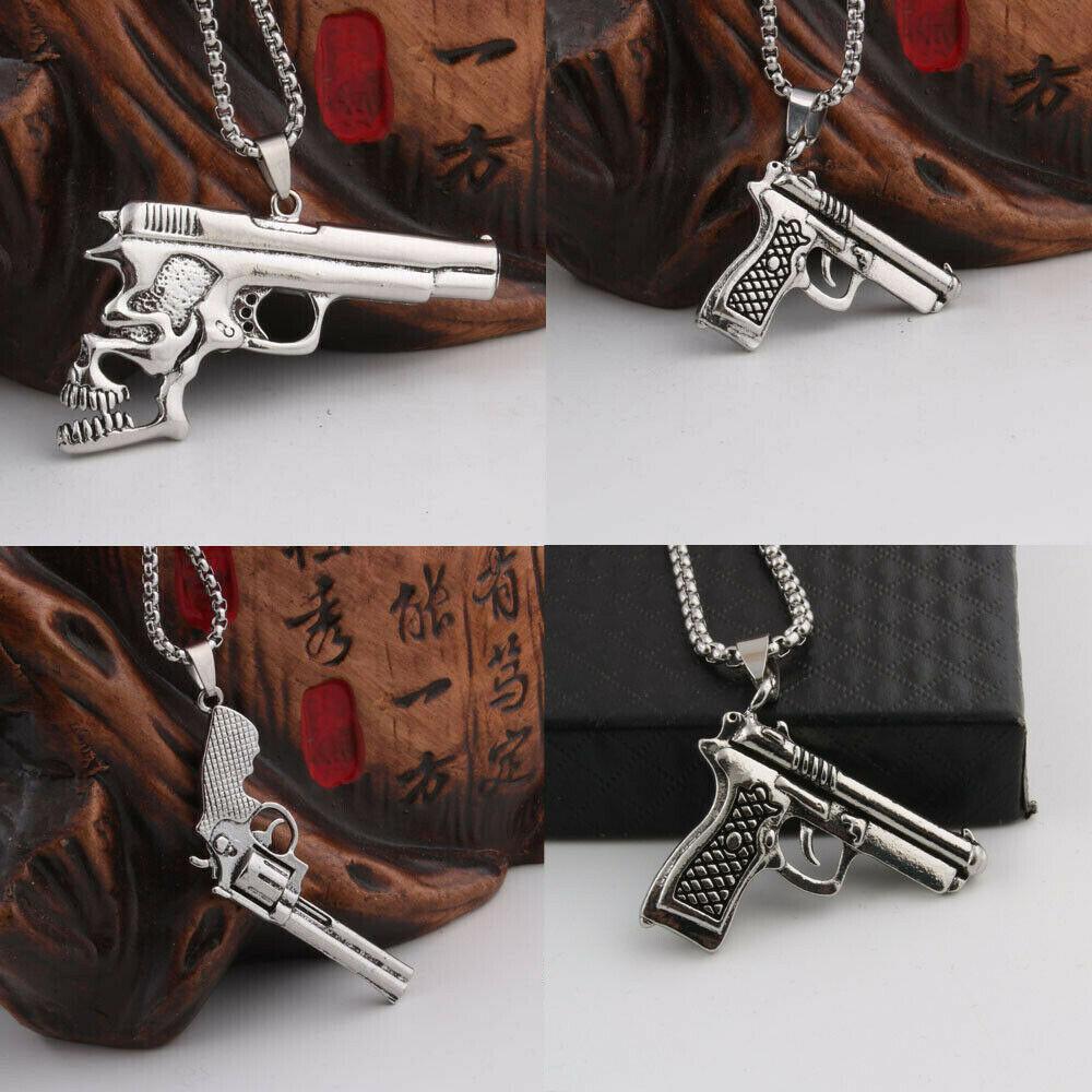Hombres de moda Mujeres Punk Revolver Pistola Pistola Colgante Collar Vintage Reteo Hip Hop Collar de acero inoxidable Joyería