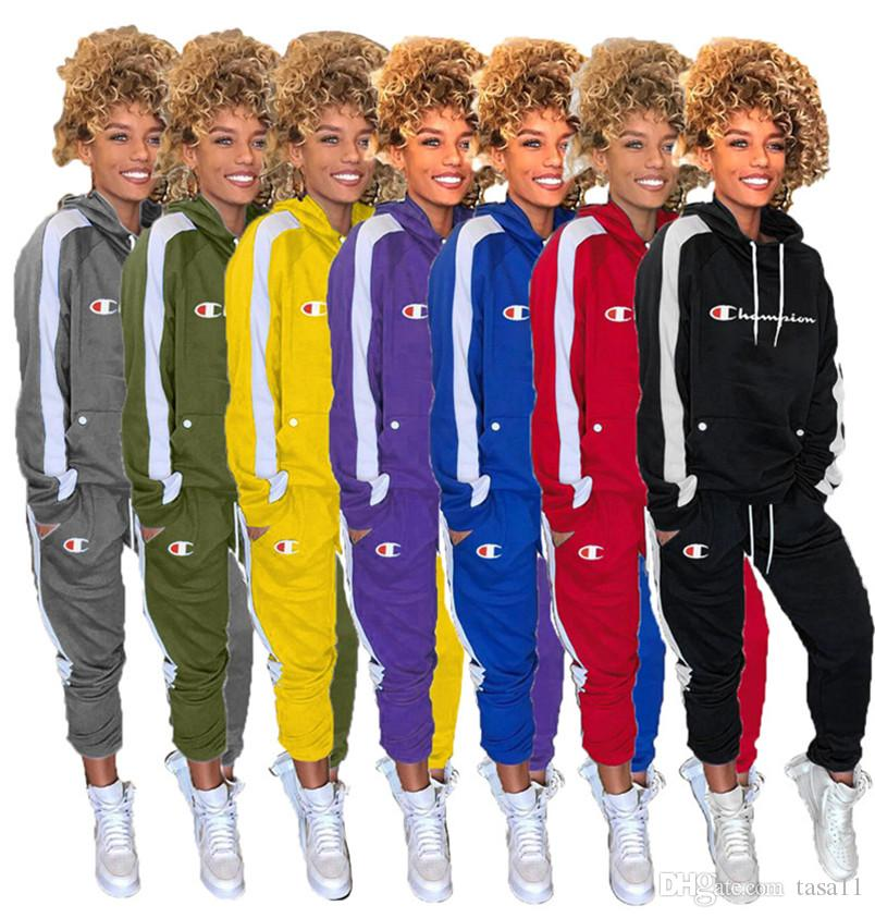 Champions Women tracksuit fall winter jogger suit hooded hoodies top+pants 2pcs set casual stripe plus size outfits outdoor sweatsuit 2180