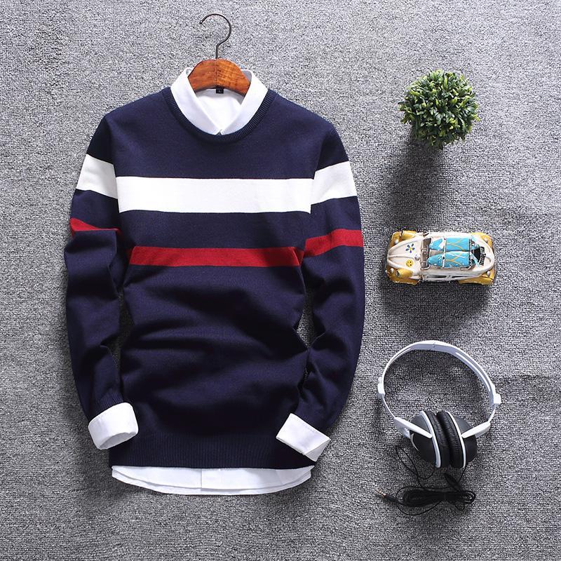 2018 Sweater Homens de Moda de Nova Outono gola redonda suave pulôver dos homens Slim Fit Mens Camisolas Casual Natal masculino Sweater MY1803 V191118