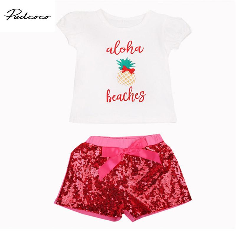 2017 милый малыш девочек новорожденных детей письмо цветочный напечатано топы футболка +комбинезон брюки блесток Костюмы комплект одежды лето мода набор