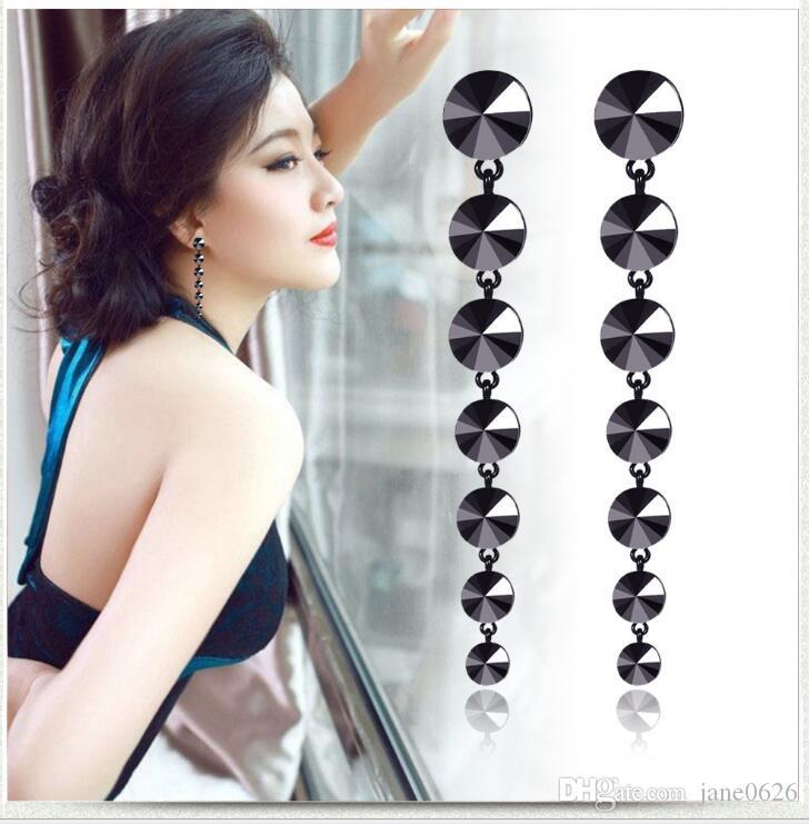 Women's Black Dangle Drop Earrings Bohemian Black Bauble Stone Drop Earrings for Women 7 start free shipping