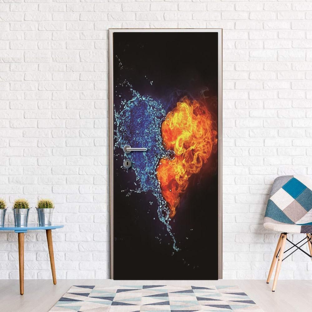 DIY Door Sticker Abstract Fire Heart door decals decorations for Bedroom Living Room wallpapers Decal home accessories