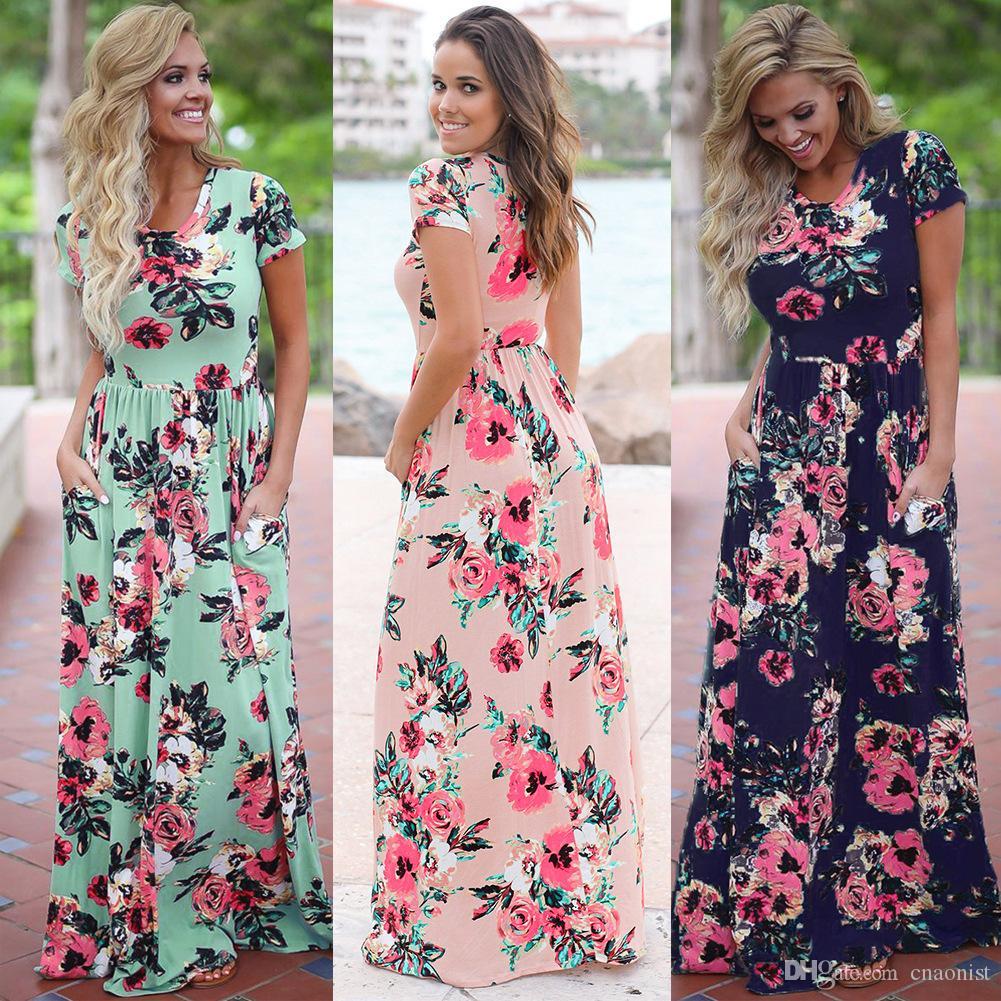 2019 Floral Print Boho Beach Dress Women Long Maxi Dress Summer Womens Dresses Short Sleeve Evening Party Woman Dress Casual Vestidos