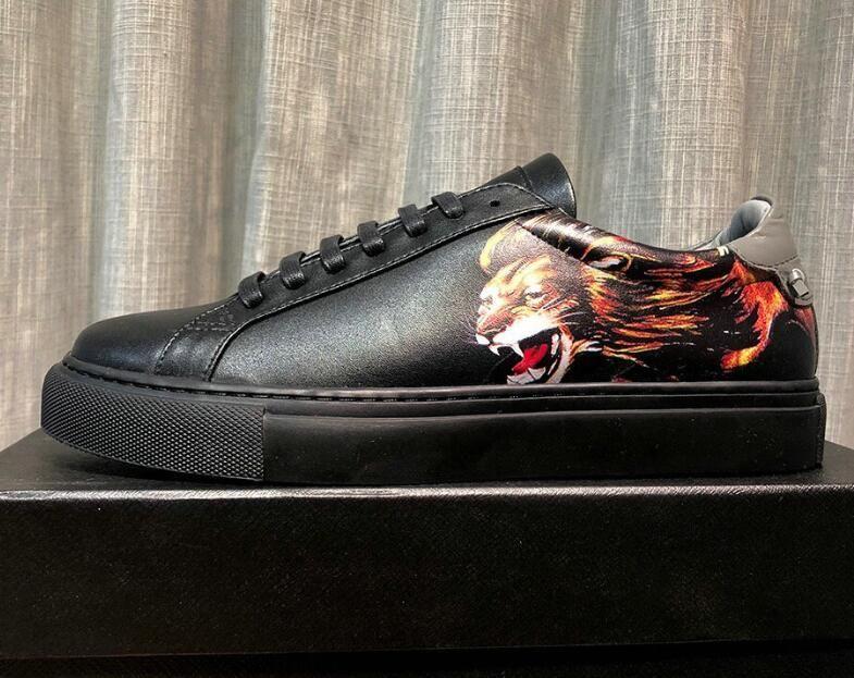 Lion Head Печатные мужские низкие кроссовки Натуральная кожа противоскользящие ботинки на шнуровке для мужчин 38-44