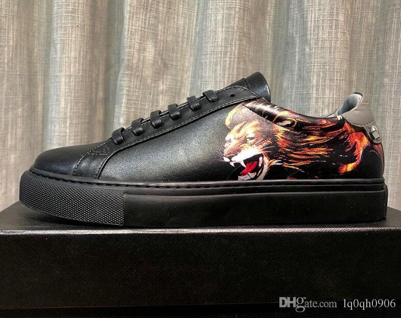 Lion Head Impreso para hombre zapatillas bajas Real cuero antideslizante cordones zapatos para hombre 38-44