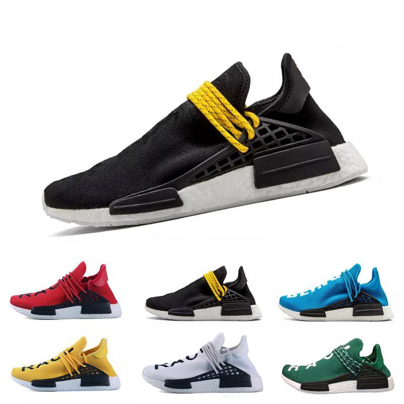 2019 Human Race Shoes Pharrell Williams Running Shoes Hu trail NERD Afro For Men Womens White Canvas Black Nerd01