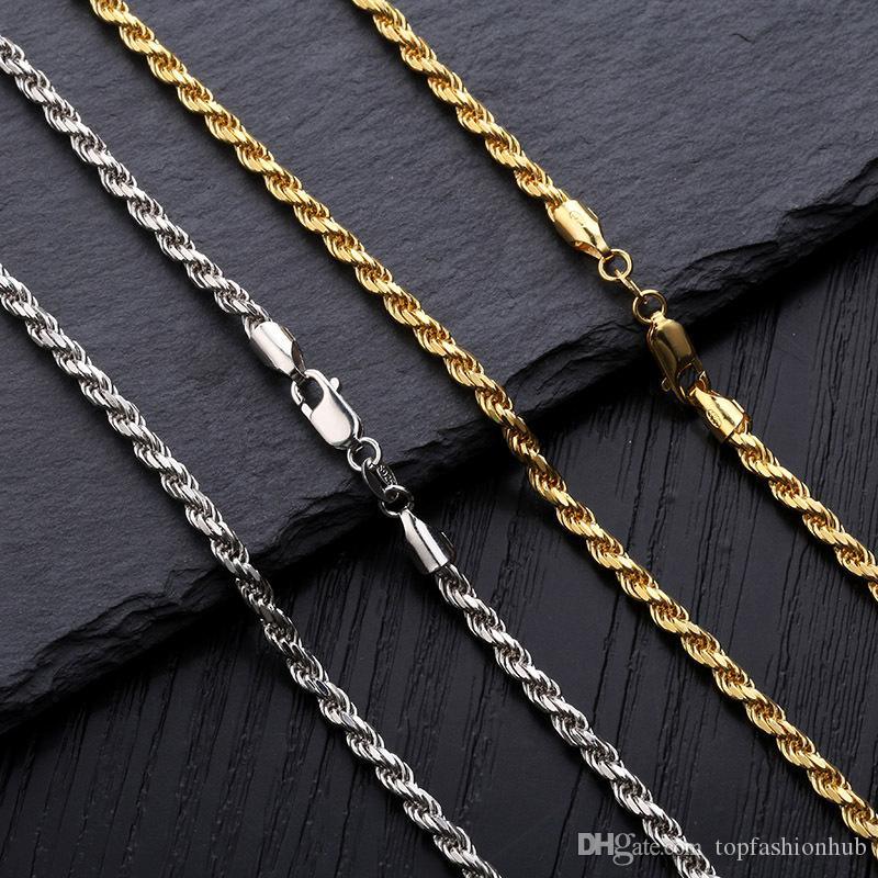 Hip Hop Büküm Zincir 925 Gümüş Kolye erkek 3mm Kolye Moda Aksesuarları Yüksek Kaliteli Mücevherat Yeni Sıcak
