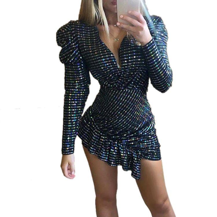Sparkle Sequin reizend Frauen-Partei-Kleid Rüschen Bottom Asymmetrische Stile mit V-Ausschnitt mit langen Ärmeln MiniBodycon Kleider Echtbild
