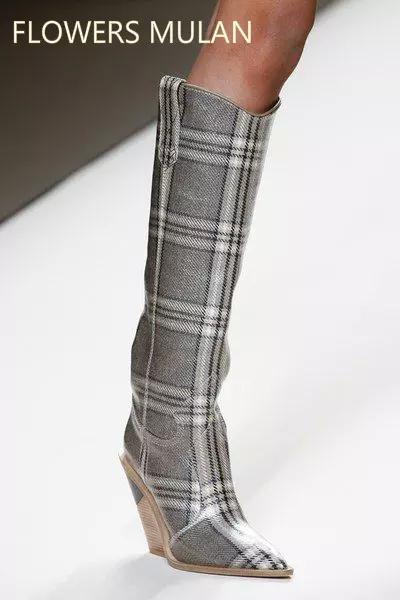 2018 Pointed Toe Fashion Designer 이상한 하이힐 진짜 가죽 여성 구두 가을 겨울 부츠 런웨이 롱 여성 부츠