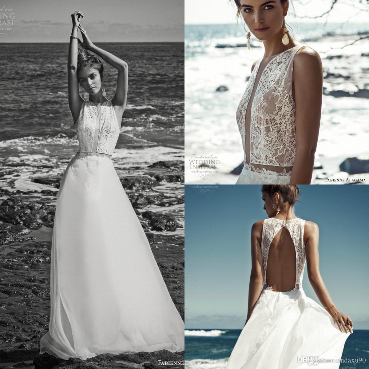 2019 Summer Beach Wedding Dresses Jewel Neck Lace Appliqued Boho Chiffon Floor Length Wedding Dress Bridal Gowns Custom Made
