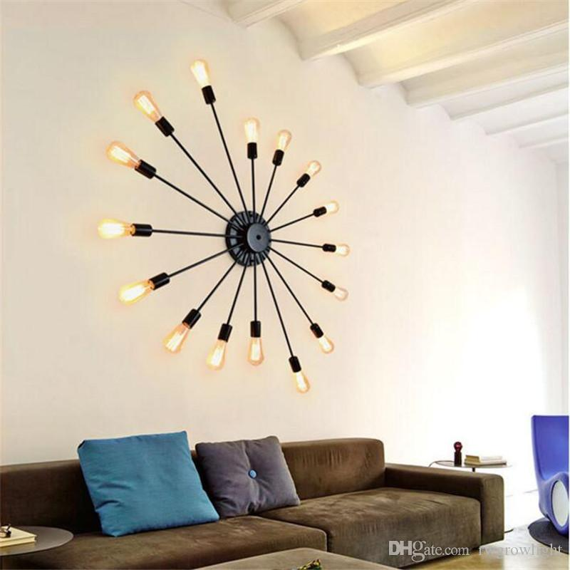 lámpara de pared de hierro forjado salón retro americana hogar creativo techo personalidad iluminación de viento industrial barra de barbería estudio dormitorio