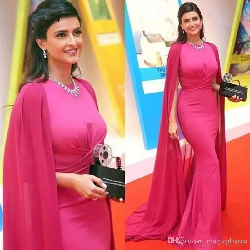 Barato Dubai novo designer fushcia Vestidos de noite Sereia com Cabo Jewel Neck Pavimento Length formais vestidos vestido de noite Vestidos