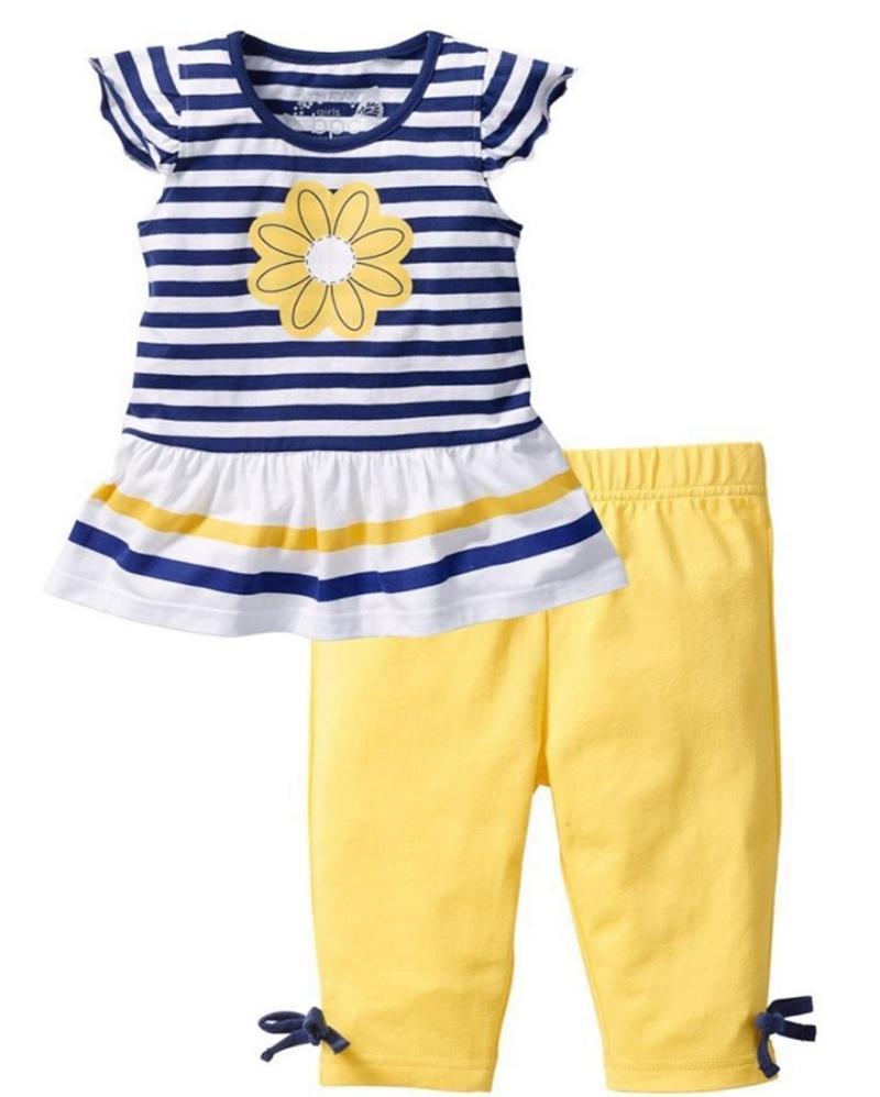 Enfants Stylistes filles rayé Daisy Robes Pantalons jaune 2PCS Ensembles manches volant fille floral Tenues d'été Vêtements enfants YW3390Q