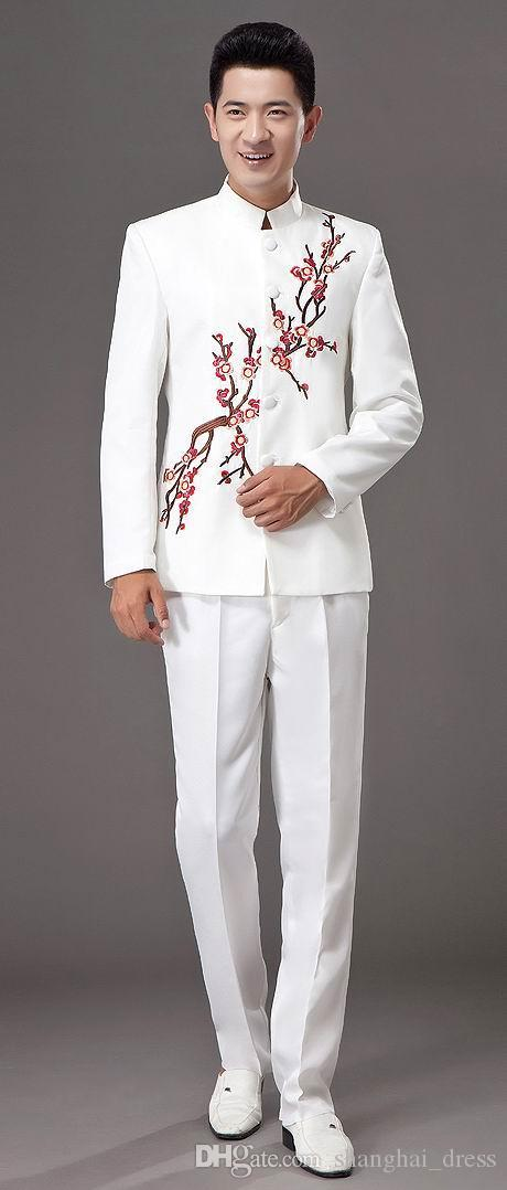 Chorus performance costume adult male dress performance clothing solo host dance costume blue and white porcelain ##1