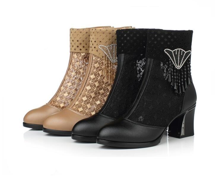 Hohe Qualität Frauen Leder Stiefel Spitze High Heels Leder Stiefel Zapatos Femme Platz High Heel Damen Schuhe 1Aa40