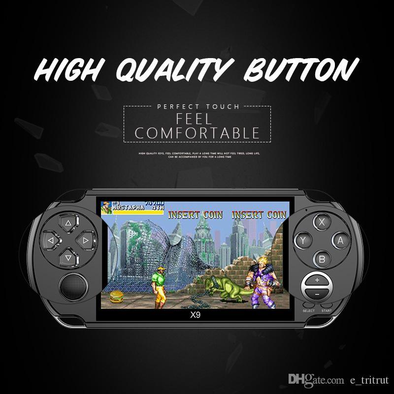 카메라 TV 아웃 TF 비디오와 8기가바이트 X9 핸드 헬드 게임 플레이어 5 인치 대형 스크린 휴대용 게임 콘솔 MP4 플레이어
