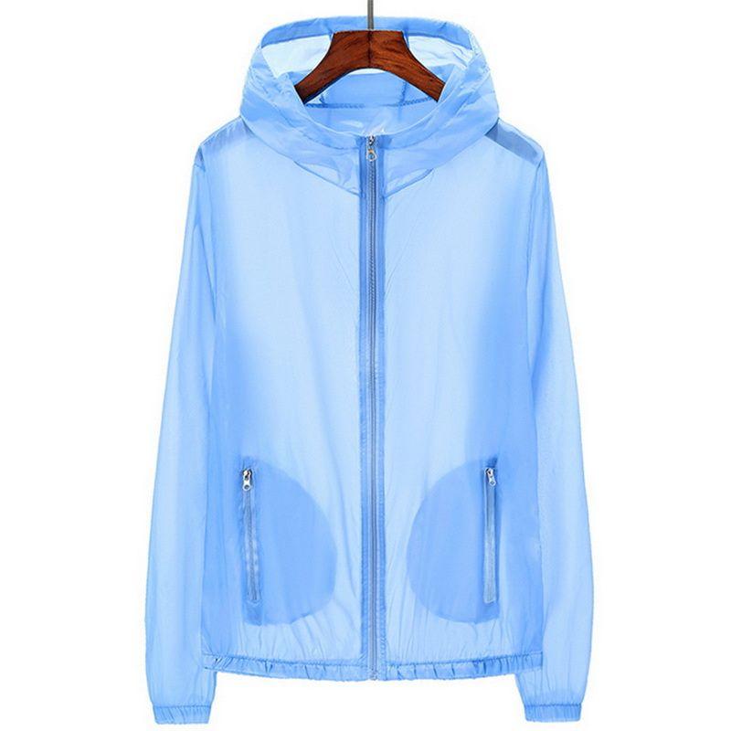Novo Unisex Genuine UV proteção solar Casacos casacos de roupas de manga longa transparente camisa Hoodies beachwear protetor solar cover-ups
