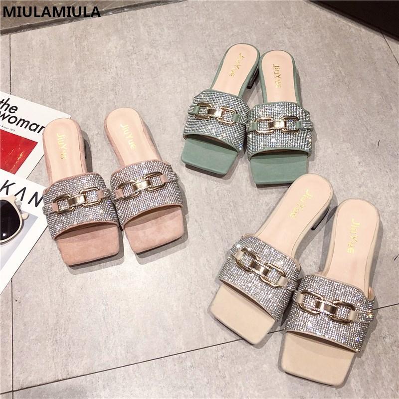 MIULAMIULA Designers 2020 catena di estate nuovo Bling strass metallo decorazioni piatto Pantofole Mocassini Mules Infradito